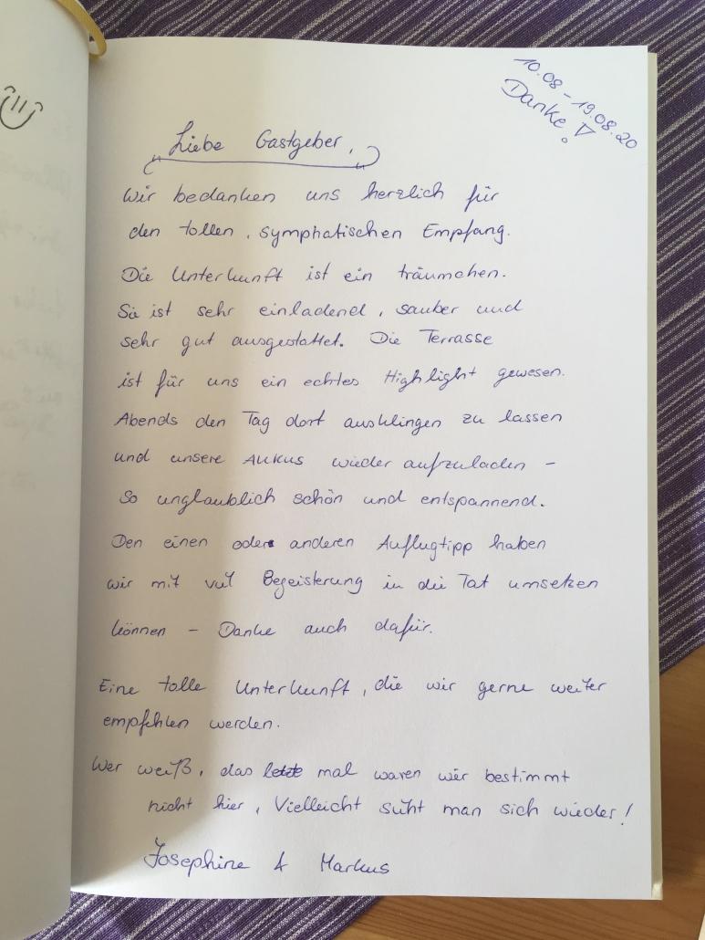Gästebucheintrag - Ferienwohnung / Appartement im Landhaus HEIMISCH / Haus Bärbel
